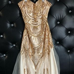 Glamour Gold & Cream Dress